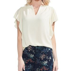 Vince Camuto Flutter-Sleeve Top Antique White M